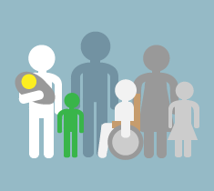 A variety of population groups are displayed on this icon.